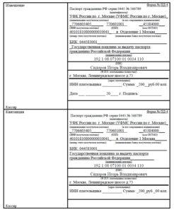 Пример заполнения квитанции для оплаты госпошлины